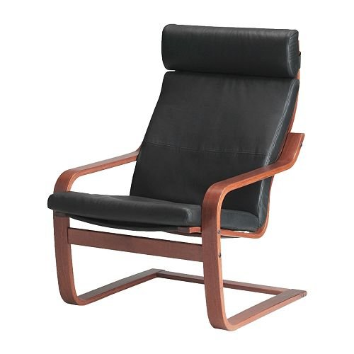Ikea Poang Armchair Medium Brown with Robust Black Leather Cushion, Frame and Cover