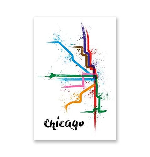 Chicago - Splatter Train Maps Matte Poster Print Wall Art