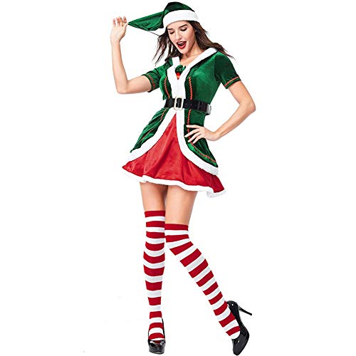 ROZKITCH Women's Santa Helper Costume Adult Christmas Honey Elf Halloween Outfits with Socks]()