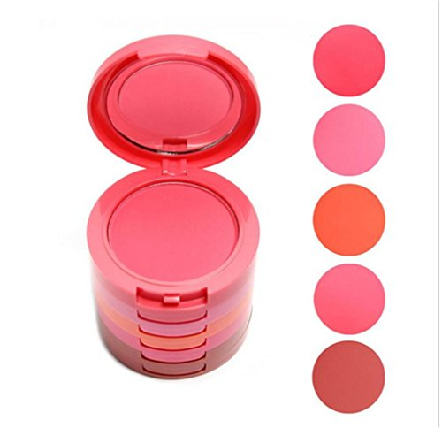 Pure Vie Professional 5 Layers/Colors Cream Blush Blusher Pressed Face Powder Makeup Palette Contouring Kit - Ideal for Salon and Daily (Face Blusher)