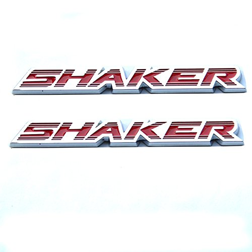 Qukparts 2pcs OEM Chrome Shaker Hood Emblems Badges 3D for Challenger Charger Red