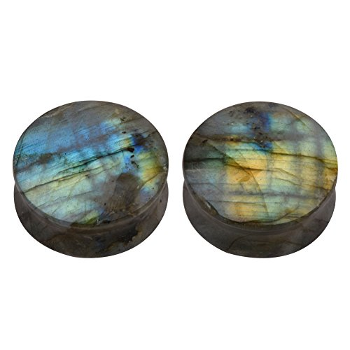 Double Flare Organic Plugs - TOPBRIGHT Pair of Labradorite Stone Earring Gauges Organic Flesh Ear Tunnels Expander Plugs