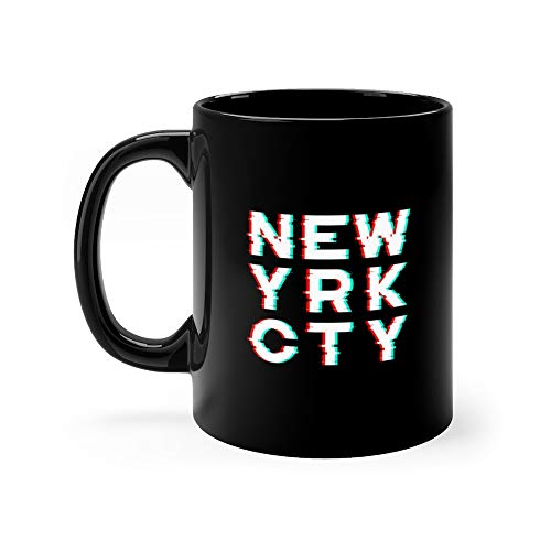 New York And Apparel With Noise Glitch Distortion Effect Print Emblem Funny Mug 11 Oz Ceramic