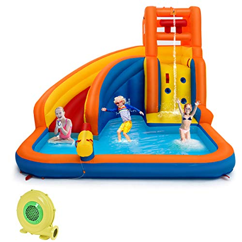 - Costzon Inflatable Water Slide, 5-in-1 Kids Bouncer w/ Climbing Wall, Splash Pool, Water Cannon, Pouring Sink, Including Oxford Carry Bag, Repairing Kit, Stakes, Hose (with 680W Air Blower)