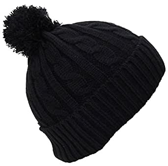 Best Winter Hats Women's Tight Cable Knit Cuffed Cap W/Pom (One Size) - Black