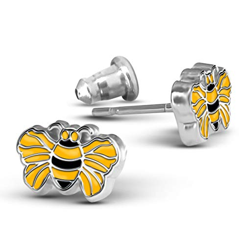 Bee Earrings for Women & Teens | Cute Stud earrings | Hand Painted Bee Jewelry With a Bumble Bee Charm ()
