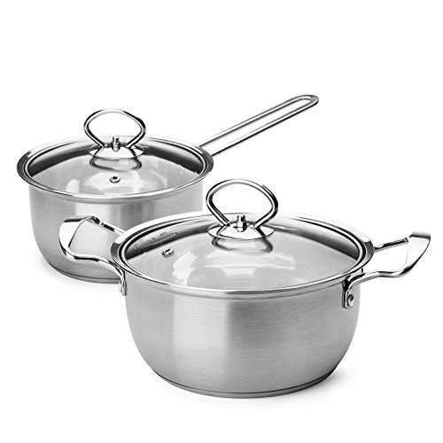 Small Stainless Steel Pot Set - Hestia Tri Ply Stainless Steel Cookware Set 4 Piece (2 Qt Stock Pot + 1.5 Qt Saucepan)