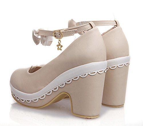 Aisun Womens Cute Bowknot Platform Pompe A Punta Tonda Con Cinturini Alla Caviglia E Cinturini Alla Caviglia Beige