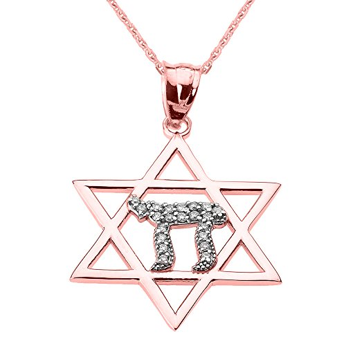 Chai Pendant Diamond (Solid 14k Rose Gold Beautiful Star of David with Chai Diamond Necklace, 18