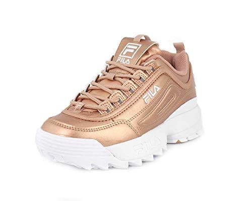 Fila Womens Disruptor II Premium Metallic Rose Gold/White Sneaker - 8