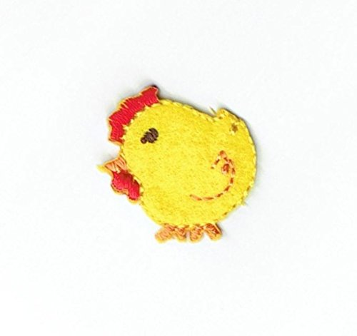 (Small Yellow Baby Chick Chicken Iron on Embroidered Patch)