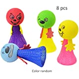 HanYoer Jumping Emoji Popper Spring Launchers Toy Bouncy Ball, Launchers Toy Bouncy Ball Party Favors Supplies (8 pcs)