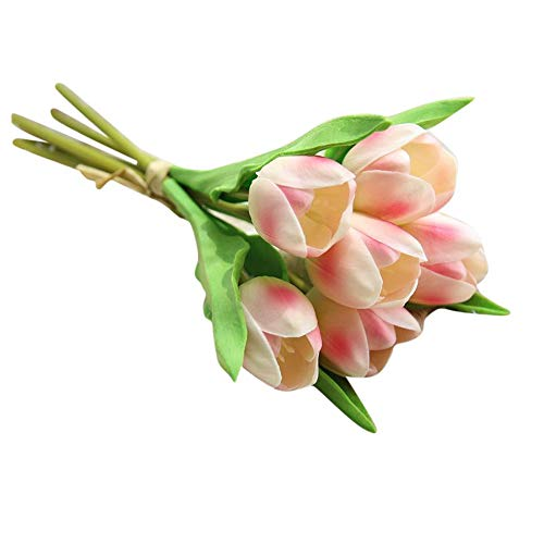 VOWUA Artificial Flowers Lifelike Beautifully Crafted Fake Flowers Tulip Bouquet Floral Wedding Bouquet Party Home Decor ()