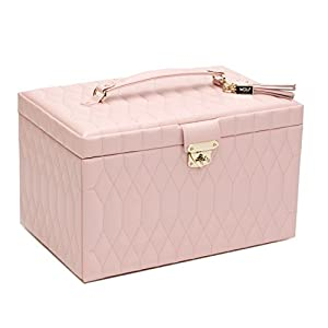 WOLF 329615 Caroline Large Jewelry Case, Rose Quartz