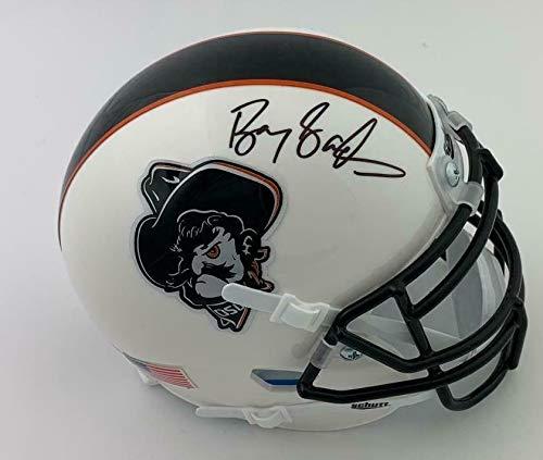 Barry Sanders Signed OSU Cowboys Pistol Pete Logo Mini Helmet Schwartz Sports - Autographed College Mini Helmets