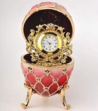 - Keren Kopal Pink Faberge Egg with Quartz Clock Trinket Box Handmade Decorated with Swarovski Crystals Home Decor Office Design Decoration