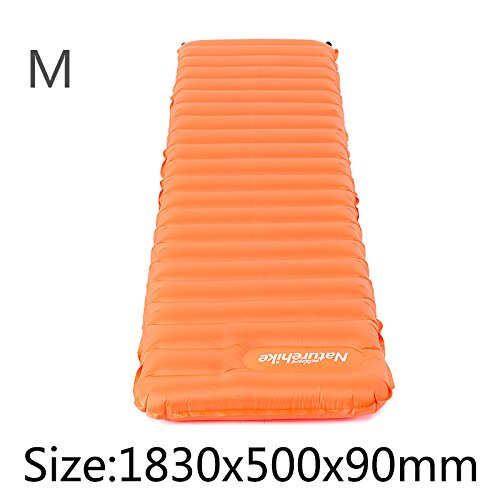 Naturehike Ultralight Manual Inflatable Hand Press Inflating Dampproof Sleeping Pad Portable Tent Air Mat Mattress Outdoor Camping (Orange, M)