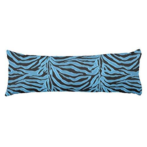 20 x 54 inch Pillow Case Cyan Blue Zebra Animal Print Body Pillow Cover Long Cotton Pillow Protector