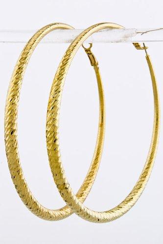 BAUBLES & CO FACETED CUT HOOP EARRINGS (Gold)