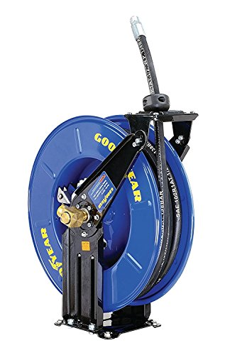 Goodyear M820154G Steel Retractable Oil/Similar Fluid Hose Reel with 1/2 in. x 50ft. Rubber Hose, Max. 2320PSI