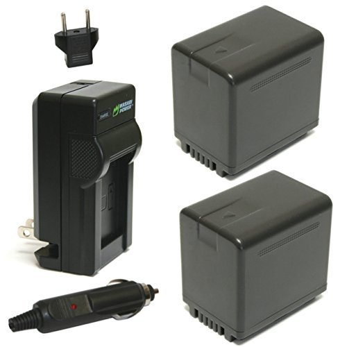 Wasabi Power Battery (2-Pack) and Charger for Panasonic VW-VBT380