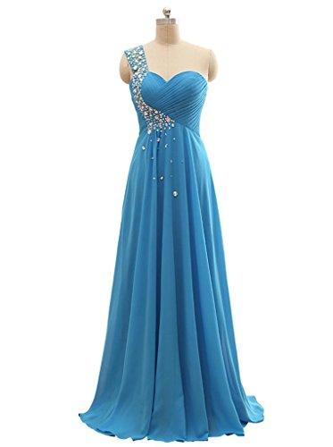 Une Longue Robes De Bal Épaule De Beauté Des Femmes De Mariée Robe De Demoiselle D'honneur De Cristal Bleu