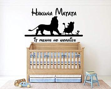 3e890decb Amazon.com: Hakuna Matata The Lion King Wall Decal Simba Timon Pumbaa Quote  Kids Children Boys Nursery Wall Decor Bedroom lk20: Baby