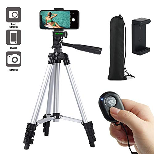 "Paladinz Phone Tripod 42"" Inch Aluminum Lightweight iPhone Tripod Stand for Camera Smartphone Cellphone with Carrying Bag and Smartphone Mount and Wireless Bluetooth Remote Control"