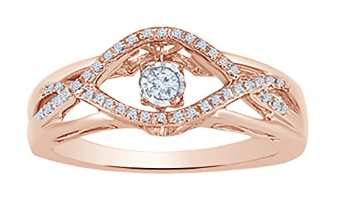 (AFFY White Natural Diamond Dancing Fashion Ring in 10K Solid Rose Gold (0.12 Ct) )