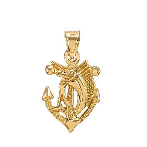 Fine 14k Yellow Gold Anchor with Marlin-Sailfish Charm Pendant ()