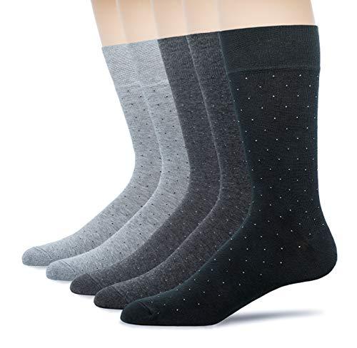 u&i Men's Dress Socks in Supima Cotton 5 Pack Crew Socks for Shoes size 7-12, Grey Black - Mens Sock Support Dress