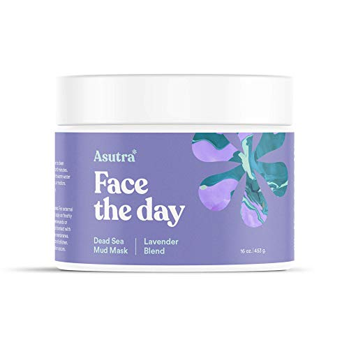 ASUTRA Organic Dead Sea Mud Mask,LAVENDER BLEND + FREE Applicator Brush, Combat Acne, Oily Skin & Blackheads, Minimize Pores, For Smooth, Beautiful & Healthy Looking Skin, 16 oz