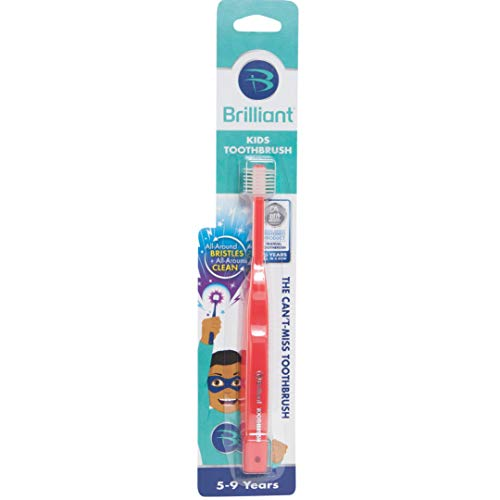Brilliant Kids Toothbrush Ages 5-9 Years - When Adult Teeth Appear - BPA Free Super-Fine Micro Bristles Clean All-Around Mouth, Kids Love Them, Red, 1 Count