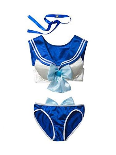 CHISEN Sexy Underwear Bra Set Cosplay Bra& and Panty Costume (Light Blue)