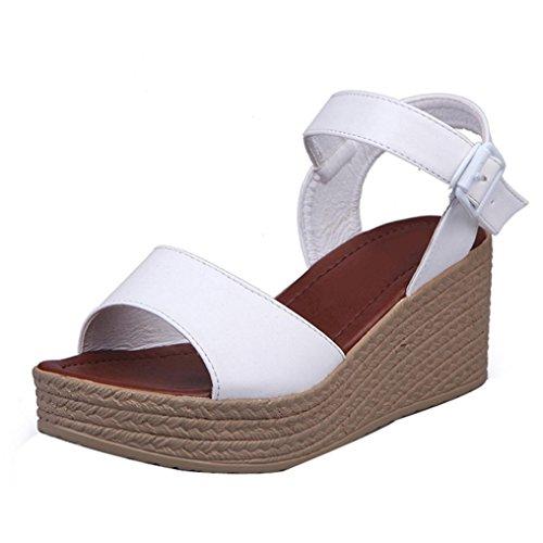 Womens Sandals,Clode® 2017 Fashion Ladies Girls Summer Slip on Ankle Strappy High Heels Wedge Platform Sandals Beach Shoes White