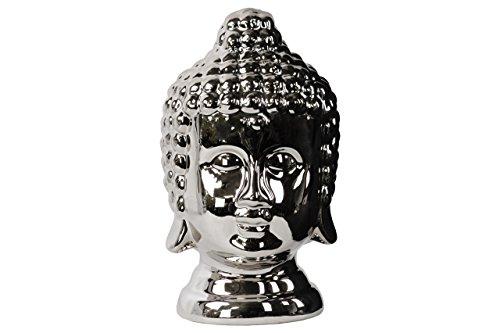 (UTC46798 Ceramic Buddha Head with Rounded Ushnisha Polished Chrome Finish Silver)