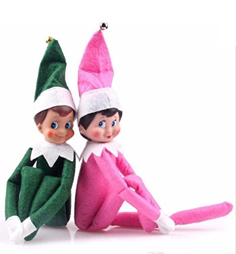 Jonsnow Brand Elf on the shelf red boy girl doll (pink+green)