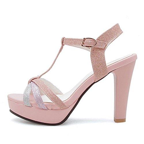 Salom¨¦ Sandales Mode Bloc Talon Femme RAZAMAZA Haut Pink xOYEqwxf