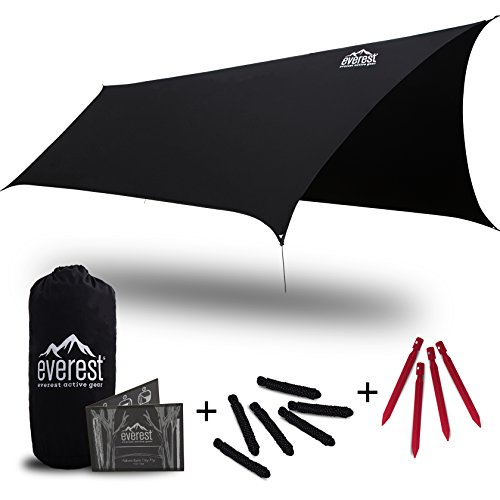 Hammock Rain Fly - Everest | Waterproof Backpacking Tent Hammock Tarp Outdoor Camping Rainfly Shelter Ripstop Nylon with Lightweight Aluminum Stakes - Adventure Dry Fly ()