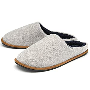 Dunlop Mens Slippers Slip On Mule Comfy Fur Lined Felt Memory Foam Sizes 7-12