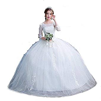 b66a1fb884c Christian Ball Gown Dress Catholi Gowns White Frock C1702  Amazon.in ...