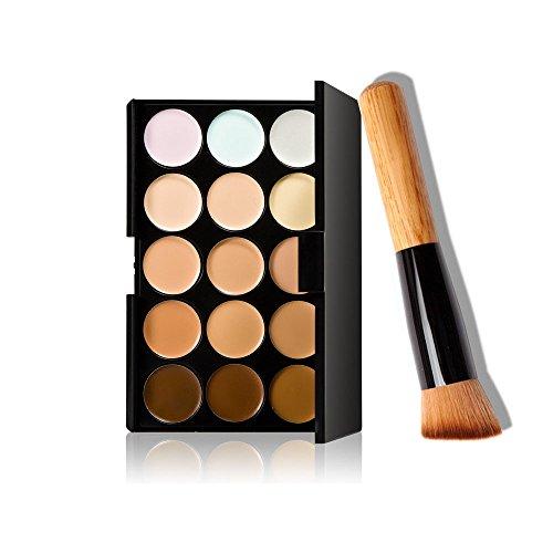 Oblique Head - Demarkt Professional 15 Colors Concealer Camouflage Contour Eye Face Cream Makeup Palette with Oblique head Powder Brush
