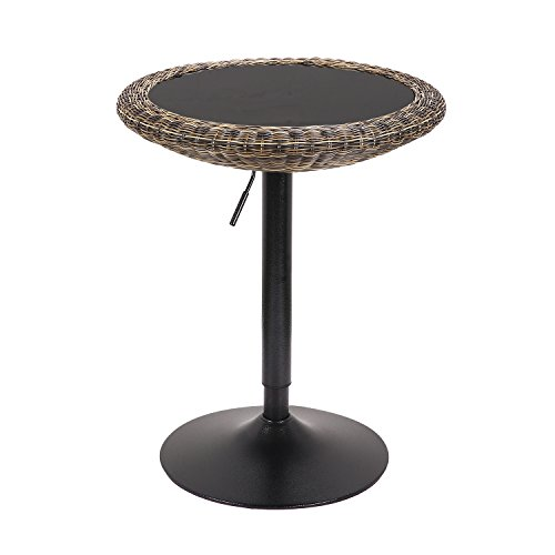 LCH Modern Pub Table 360 Swivel Round Coffee Table Kitchen Bar Table with Glass & Rattan Top - 28.4