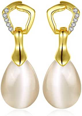 Kalapure 18k Gold Plated Round Pearl Cubic Zirconia Drop Earrings
