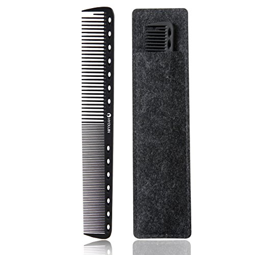 HYOUJIN 605 Black Carbon Fine Cutting Comb,100% Anti static 230℃ Heat Resistant,Hairdressing Comb,Master Barber Comb with fine tooth-14 holes for cutting and hair - Professional Black Comb