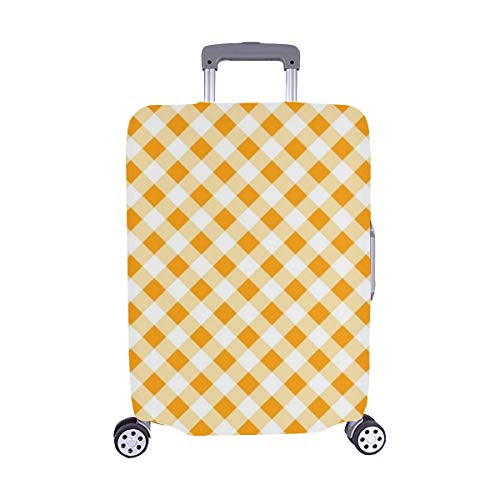 Autumn Gingham Thanksgiving Halloween Spandex Trolley Case Travel Luggage Protector Suitcase Cover 28.5 X 20.5 Inch