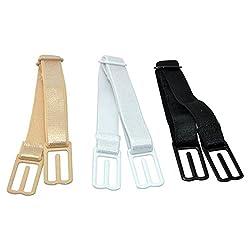 Lady Up Women's Non-Slip Elastic Bra Strap Holder, Black/White/Skin Color