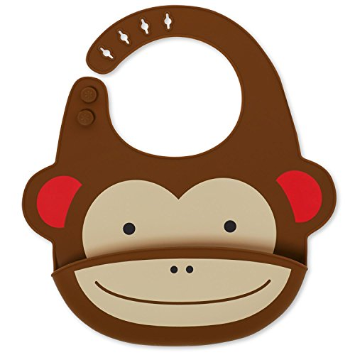 Skip Hop Zoo Fold & Go Silicone Bib, Brown (Monkey Toddler Bib)