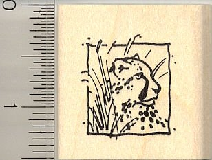 Cheetah Square Rubber Stamp - Wood Mounted