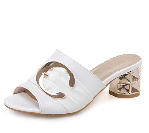Easemax, Donna, Alla Moda, Metà Tacco Grosso, Open Toe Slip On Fibbia Sandali Con Cinturino Bianco